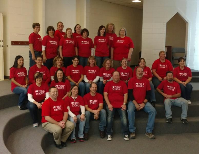 Hay Springs Staff enjoying their NE Loves Public Schools shirts